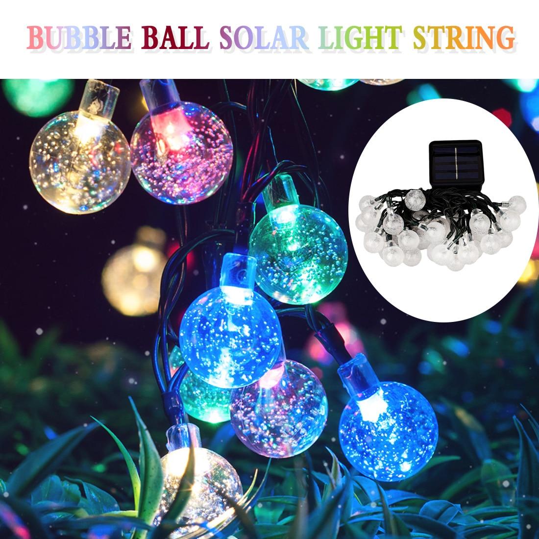 20/30/50LED S boule de cristal lampe solaire puissance LED chaîne fée Flash lumière solaire guirlandes jardin noël extérieur décor étanche
