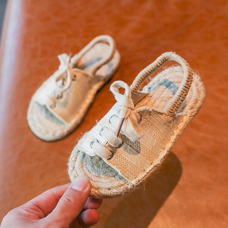 ULKNN Children Casual Sandals 2020 Kid's Girls Cool Series Linen Flat Top Shoes BOY'S Elastic Band STUDENT'S Shoes