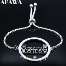 2019 Family Dad Mum Two Daughter and Son Crystal Stainless Steel Bracelets for Women Silver Color Bracelet Jewelry joyas B18519 2019 family stainless steel necklace women jewlery silver color dad mum and son statement necklace jewelry gargantilla n18018