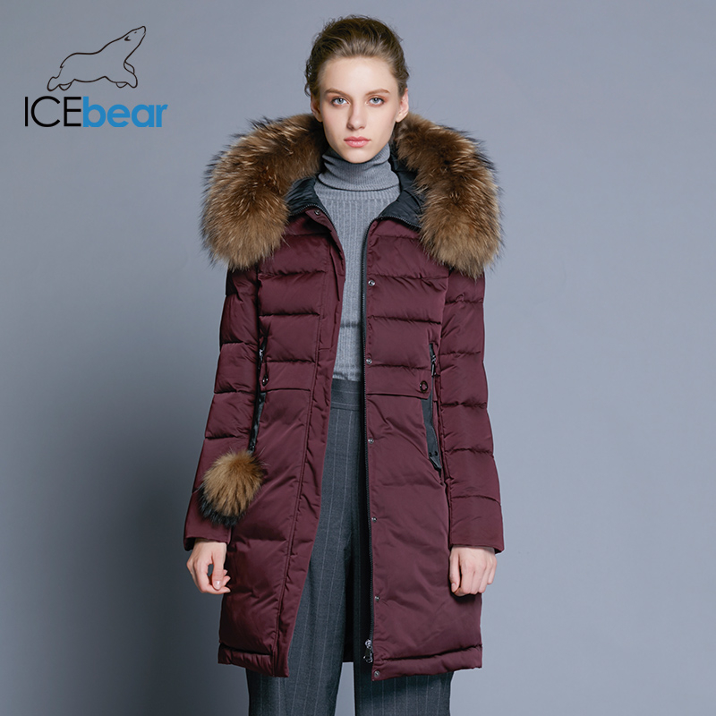Icebear 2019 inverno casaco feminino longo fino casaco feminino gola de pele animal roupas marca grosso quente à prova vento parka gwd18253