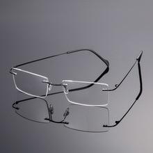 Vazrobe Men Spectacle Frame Titanium Frameless Clear Eyeglasses Eye Glasses for Rimless Square Myopia Nerd Vintage
