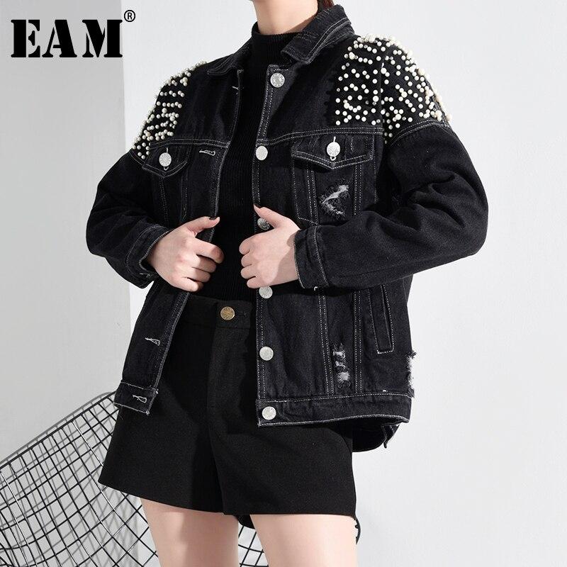 [EAM] Loose Fit Pearl Nailed Split Joint Short Denim Jacket New Lapel Long Sleeve Women Coat Fashion Tide Spring 2020 HAA801