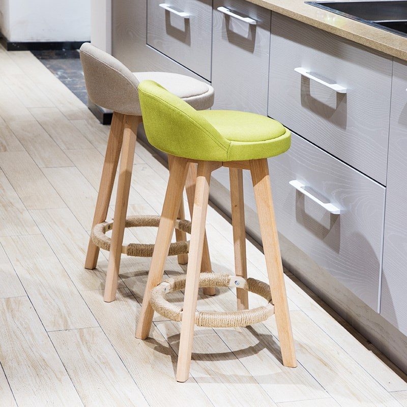 M8 Bar Stool Nordic Modern Minimalist Home Solid Wood High       Chair Leisure Back