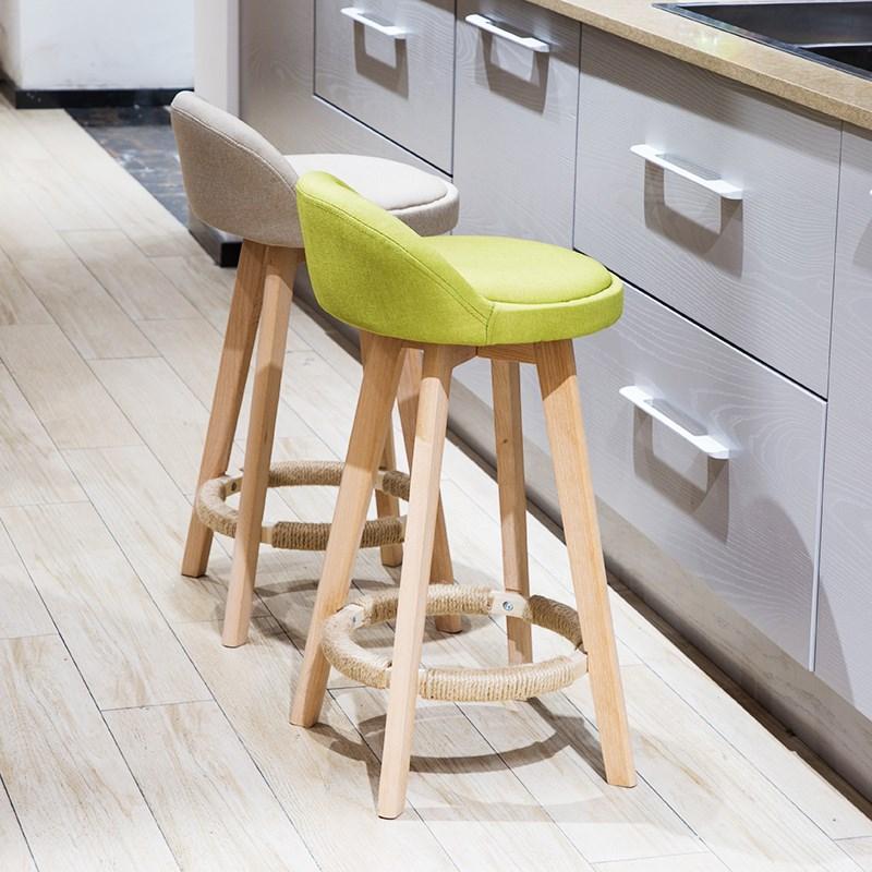 M8 Bar Stool Nordic Modern Minimalist Home Solid Wood High       Chair Leisure Back