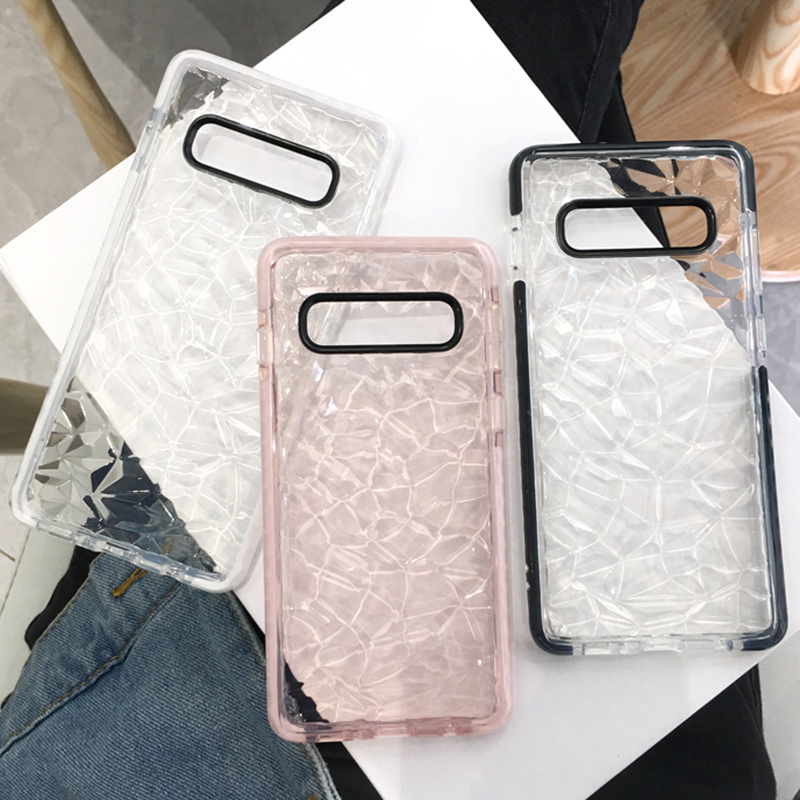 Dual Layer Anti-Shock Silicon Case For Samsung Galaxy S7 Edge S8 S9 S10 Plus A10 A20 A70 Double Color 3D Diamond Soft TPU Cover image