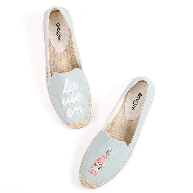 Calçados de tecido de cânhamo femininos, sapatos da plataforma forma do dedo redondo da primavera/verão 2019