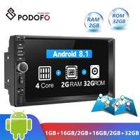 Podofo Android 8.1 2 Din Car Radio RAM 2GB+ ROM 32GB Android 7'' 2Din Universal Car Radio Autoradio GPS Multimedia Unit Player