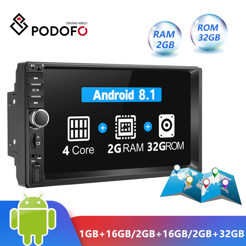 Podofo Android 8.1 2 Din Car Radio RAM 2GB+ ROM 32GB Android 7'' 2Din Universal Car Radio Autoradio GPS Multimedia Unit Player image