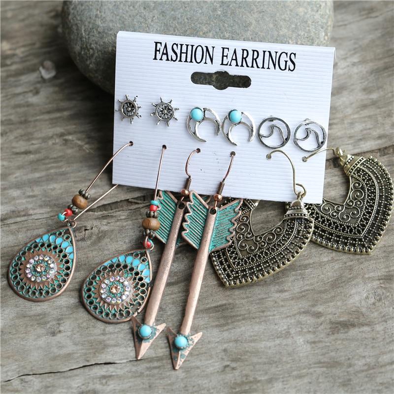 17KM New Ethnic Beads Drop Earrings Set For Women 6Pcs/Set Fearther Acrylic Metal Wood Dangle Earring 2020 Vintage Jewelry
