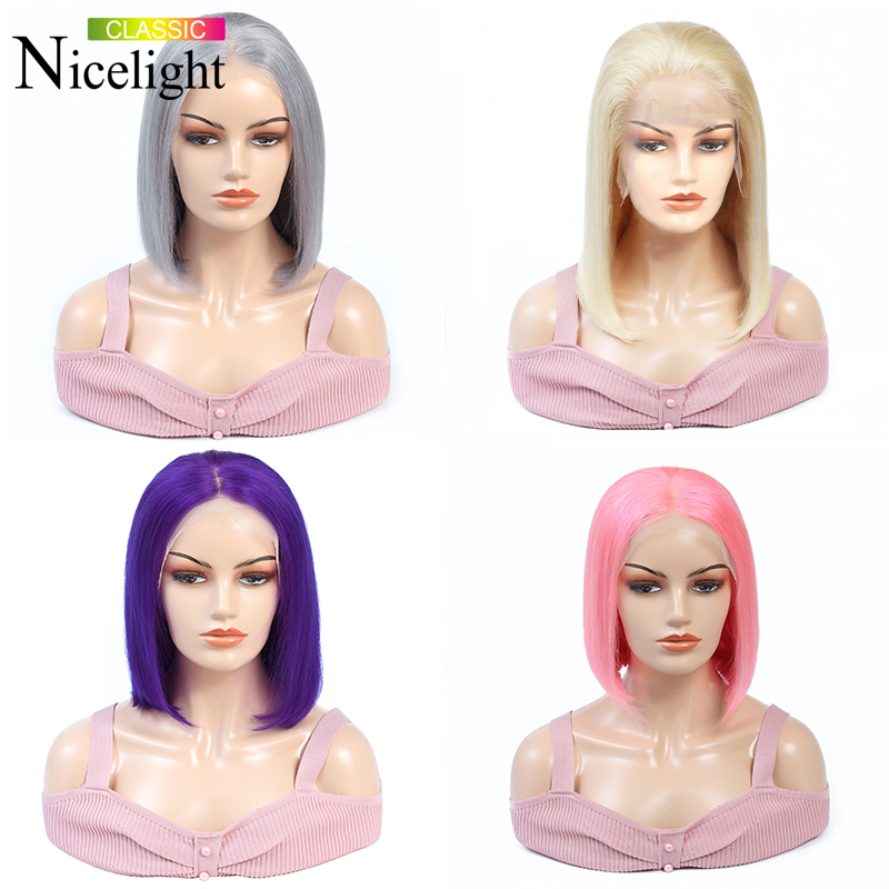 613/Purple/Grey/Pink Wig Short Bob Human Hair Lace Front Wigs Straight Frontal Wig Lacefront Wigs Nicelight Brazilian Hair Wigs image