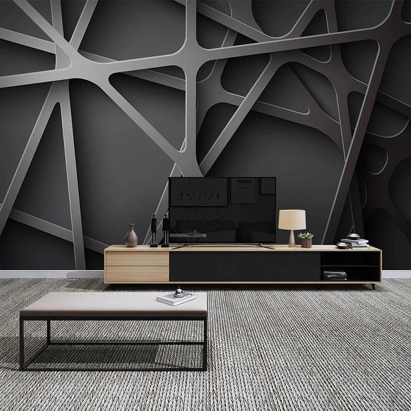 Custom Photo Wall Painting 3d Creative Geometric Black Grey Art Wallpaper Modern Living Room Bedroom Interior Design Mural Wallpapers Aliexpress