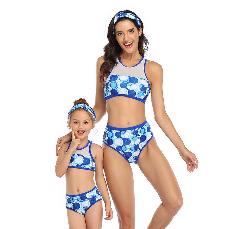 Matching Family Swimsuits Sport Women Swimwear Kids Mother Bikini Bathing Suit Mother Daughter Bikini Beach Shorts Family Look