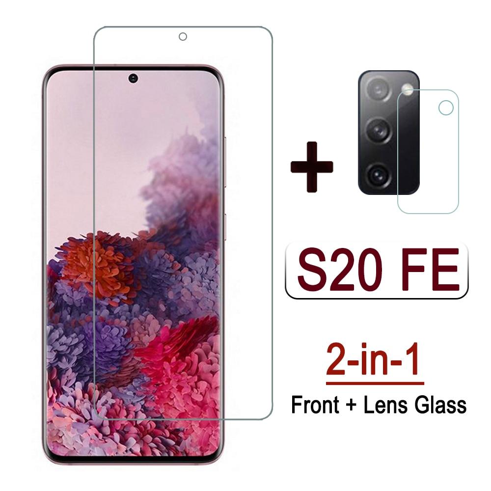 2 em 1 vidro para samsung s20 fe 5g 2020 lente da câmera de vidro temperado película protetora para samsung s20 fã edição protetor de tela