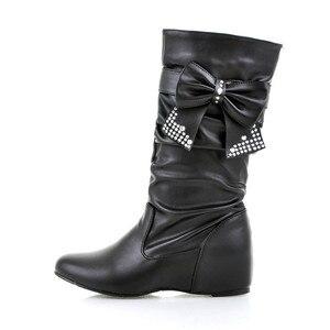 Image 3 - Новые дамские весенне осенние ботинки «ENMAYER» с бантом на плоской подошве Дамские ботинки до середины икры в 4 расцветках Большие размеры (34–47)