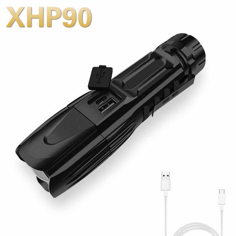 ألمع XHP70.2 XHP90 قابلة للشحن مصباح ليد جيب الشعلة قوية سوبر مقاوم للماء التكبير إضاءة صيد استخدام بطارية 18650 26650