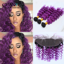 Ombre Deap Wave 1B Light Purple Hair Bundles with Frontal Closure 13X4 Brazilian Remy Curly Human Hair Weave Pre plucked(China)