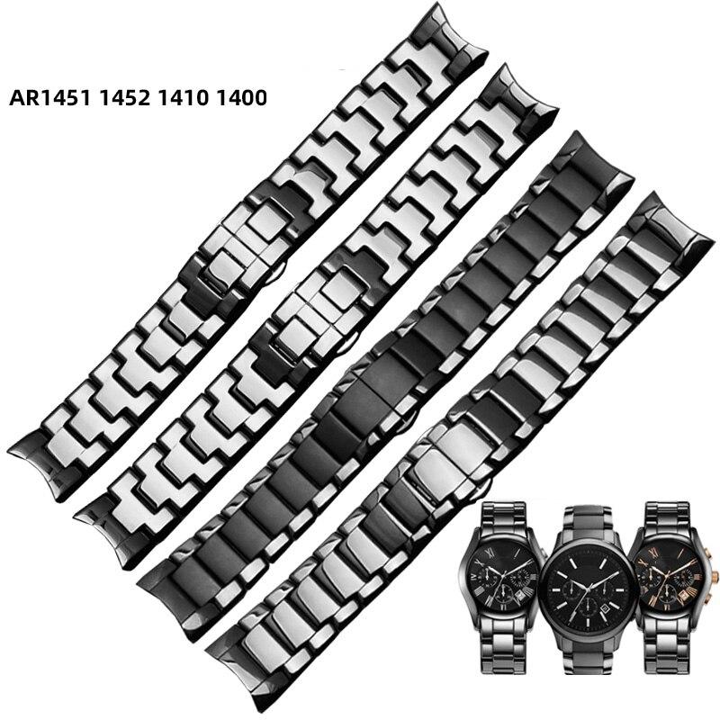 For AR1452 AR1451 AR1410 AR1400 Ceramic Watchband  22mm 24mm High Quality Black Men Ceramic Strap Black Deployment Band Bracelet