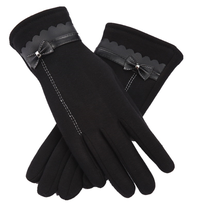 Women Winter Bow Velvet Gloves Lady Thick Leather Autumn Touch Screen Mittens Glove Female Cycling Line Bow Gloves Wholesale