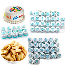 62PCS Alphabet Number Biscuit Cutter Lowercase Uppercase Letter Cookie Stamp Mold Embosser Cookie Fondant Cake Decorating Tool