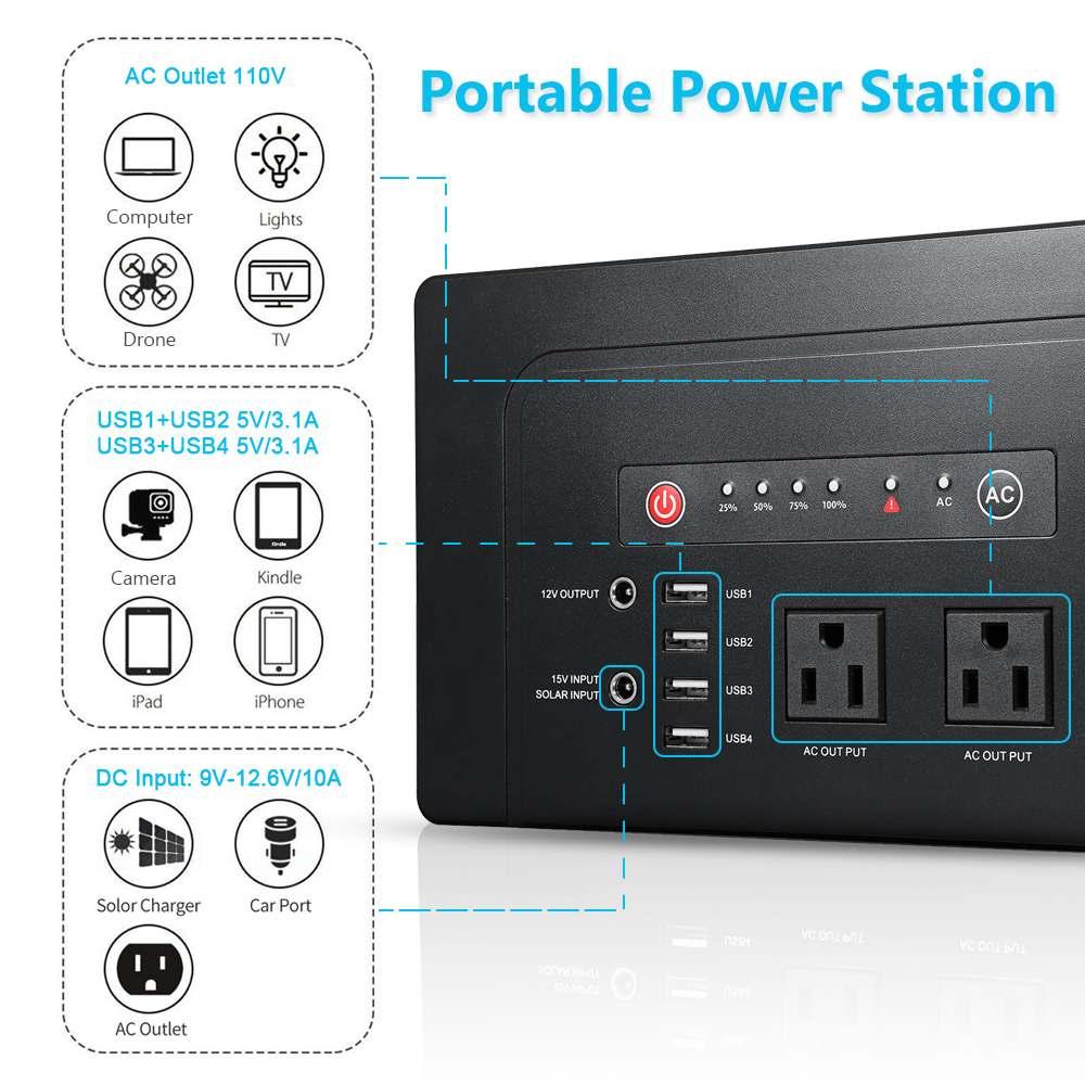 200 W/300 W Portable Solar Generator Voeding Met Inverter Usb Lcd Display Energie Opslag Generatie Voor Outdoor thuis Auto - 3