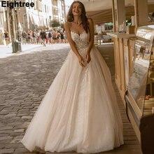 Eightree блеск ТРАПЕЦИЕВИДНОЕ свадебное платье с овальным вырезом