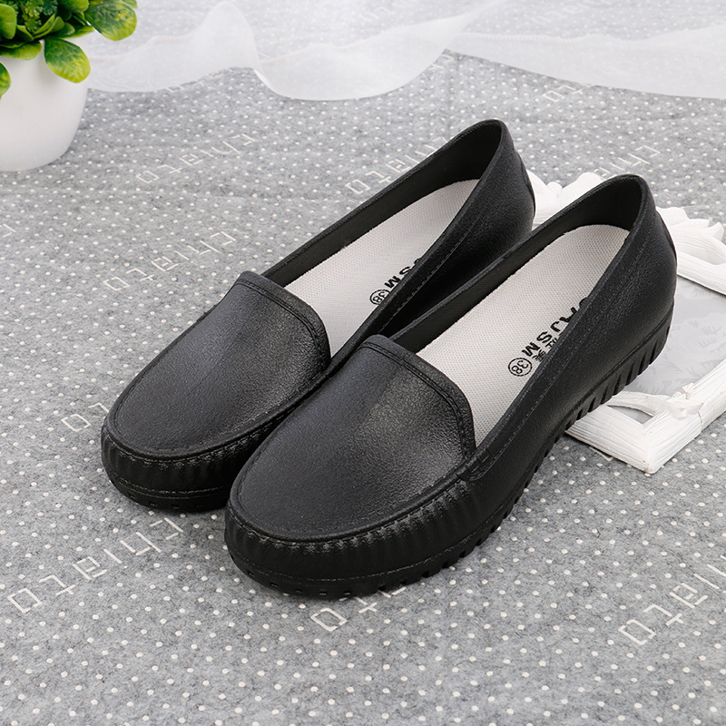 ZHENZHOU Nurse shoes white female flat bottom pregnant women casual waterproof non-slip peas shoes black work shoes image