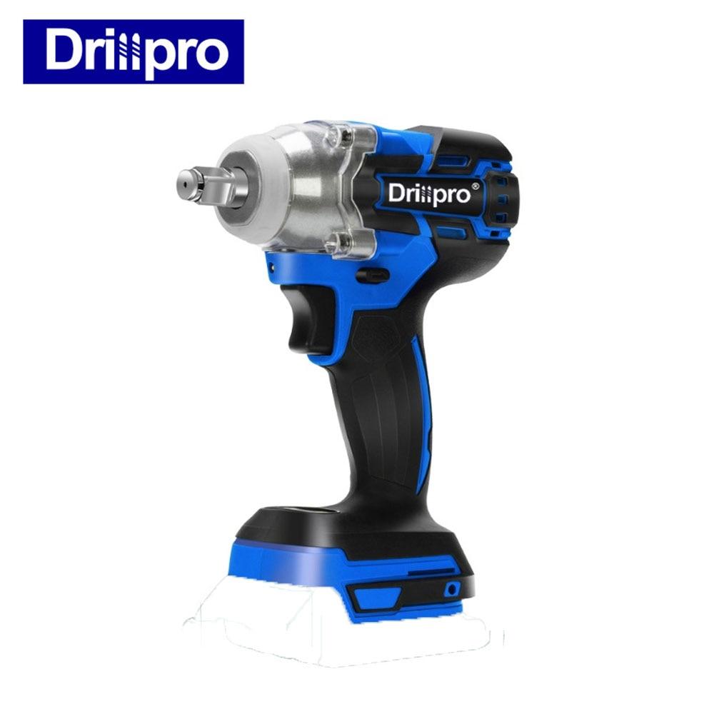 Drillpro elétrica sem escova chave de impacto sem fio 1/2 chave soquete ferramenta elétrica recarregável para makita 18 v bateria