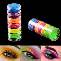 6 colors/set Makeup Fluorescent Neon Pigment Eye Shadow Makeup Palette Eye Shadow Glitter Eyeshadow Nail Powder Cosmetics