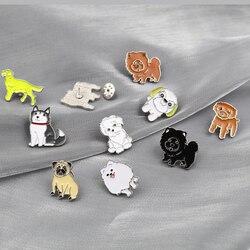 Эмалированные Броши с милыми маленькими собаками и животными, стильные заколки для лацканов разных видов, мультяшный значок для друга, ювелирные изделия, аксессуары, подарок, оптовая продажа