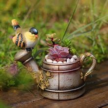 Прекрасный полимерный горшок цветочный пасторальная птица душ