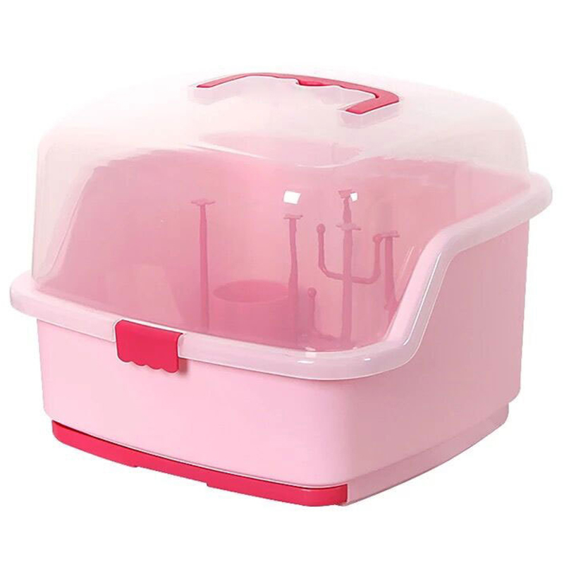 Anti Dust Baby Bottles Storage Box Drying Rack Tableware Dry Case Cleaning Dryer Drainer Storage Container-Pink