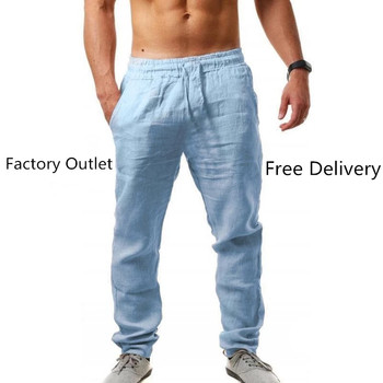 Hot Men Cotton Linen Pants Male Summer quick-dry Breathable Solid Color Linen Trousers Street Casual Comfortable Costume Male