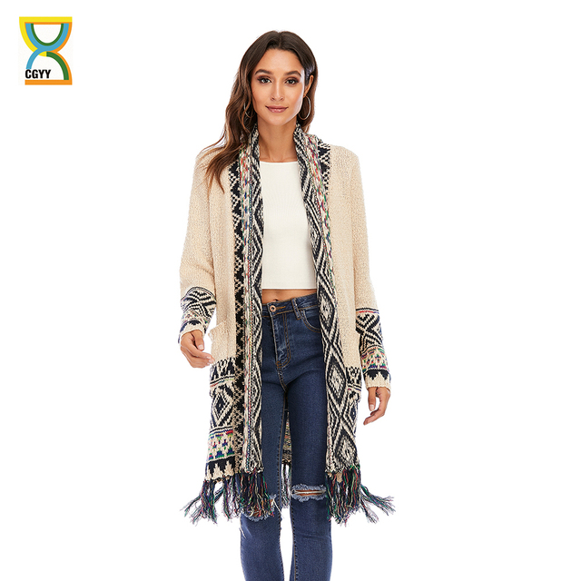 CGYY Women's Colorful Boho Sweater White Color Knitted Open Front Spring Autumn Winter Cardigan With Fringe Tassel And Pockets 1