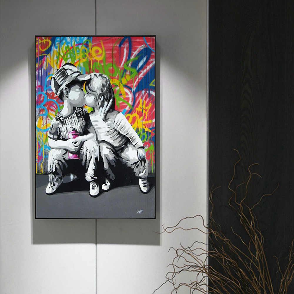 愛は回答壁グラフィティアートキャンバスプリントストリートポップアートキャンバス絵画ポスターやプリント愛の生活壁キャンバス画像