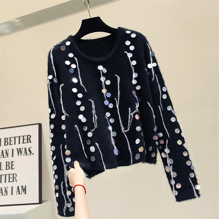 2020 Spring Autumn Pullover Sweater Woman New Thick Long Sleeve Sequin Sweater Mohair Sweaters Ladies Loose Outer Wear Pull