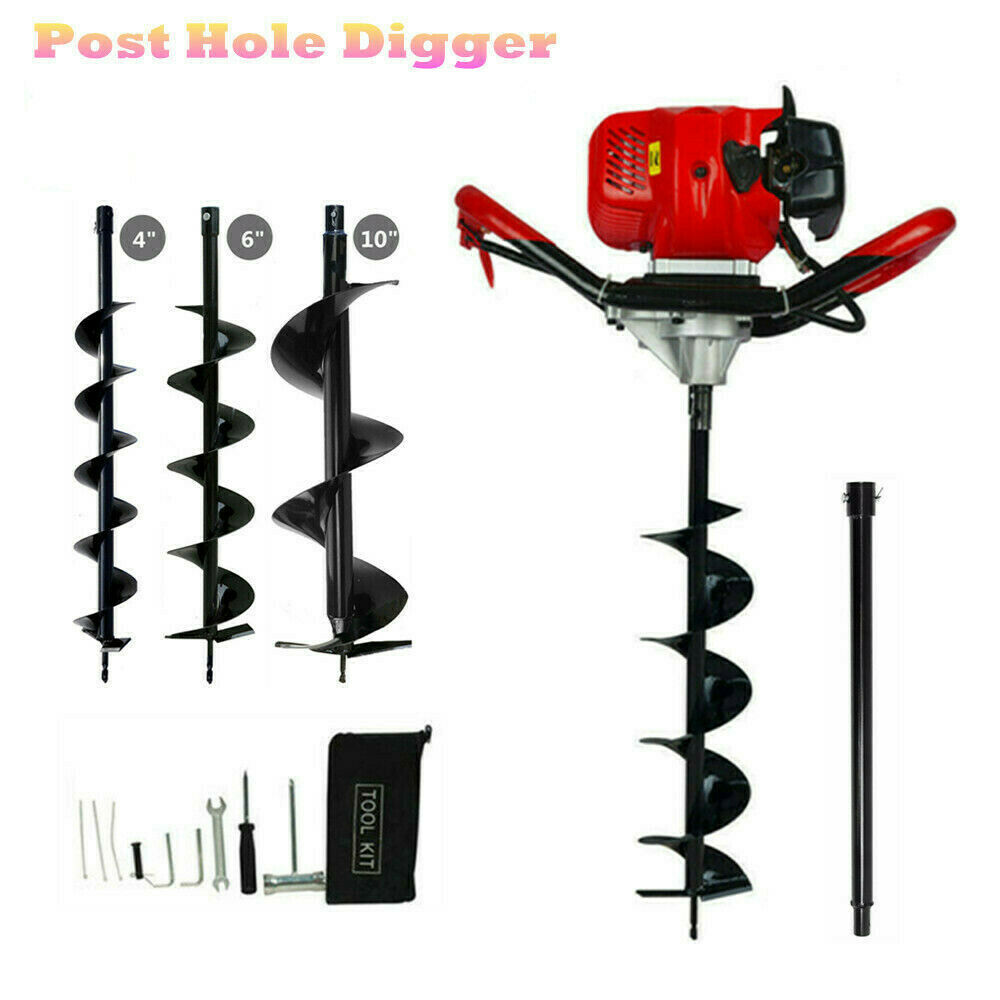 Heavy Duty Gas Powered Post Hole  Digger 52cc Petrol Earth Auger Digger Fence Post Hole Borer   3 Drills   Extension
