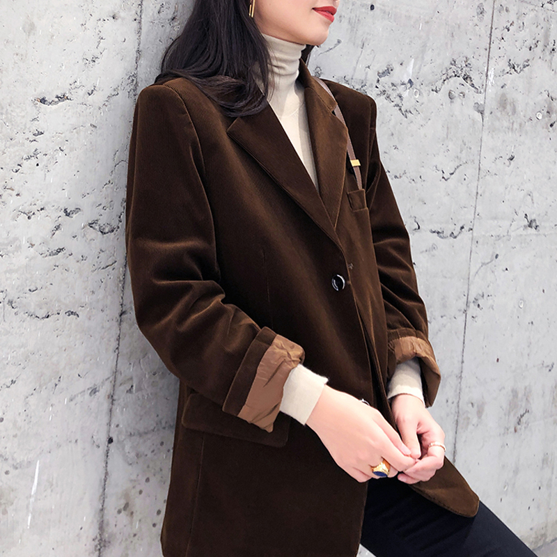 2020 Spring Autumn Women Fashion Vintage Corduroy Blazers Coat Solid Pockets Suit Jacket Female Outwear Tops Office Blazer Mujer