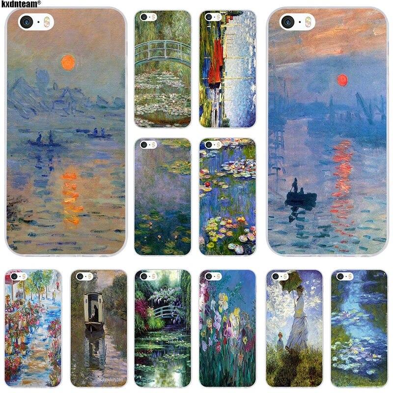 Claude Monet Impressionism Soft TPU Silicon Phone Cases Capa Cover For iPhone 4 4S 5 5C SE 6 6S 7 8 Plus X Coque Fundas Shell