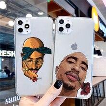 Rapper Tupac 2PAC Makaveli TPU Soft transparent Phone Cases Capa para iPhone11 11pro max 6 6s 7 8 Plus X XR Xsmax Fundas Coque
