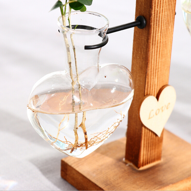Modern Terrarium Hydroponic Plant Vases Vintage Flower Pot Transparent Vase Wooden Frame Glass Tabletop Plants Home Bonsai Decor 5