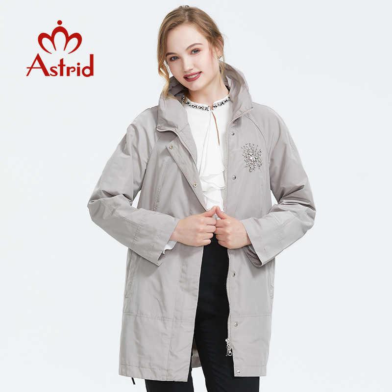 Astrid 2019 Herbst neue ankunft top grau graben mantel stehkragen mid-länge lose frauen mode graben mantel mit reißverschluss ALS-9116