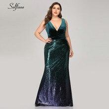 Party-Dress Velvet Plus-Size Mermaid Vestidos-De-Fiesta Bodycon Summer Maxi Sexy V-Neck