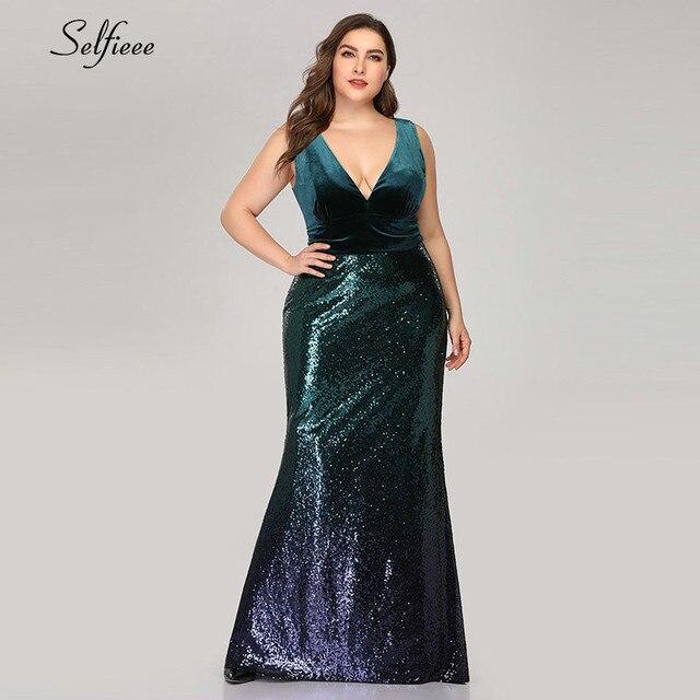เซ็กซี่Velvet Party Dress Plusขนาดผู้หญิงVคอแขนยาวMermaid Sequinฤดูร้อนใหม่Maxi Bodycon Vestidos De fiesta