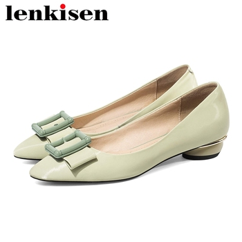 Lenkisen 2020 summer new cow leather pointed toe low heel square buckle Korean street beauty girls shallow large size pumps L27