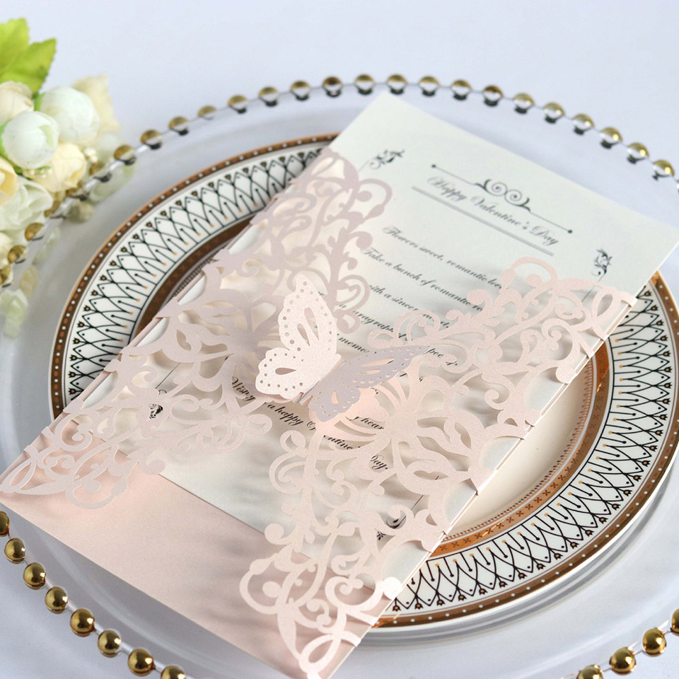 Customize 10pcs Elegant Luxury Butterfly Laser Cut Wedding Invitations Card  Paper With Ribbon Envelopes Party Wedding Decoration|Cards & Invitations| -  AliExpress