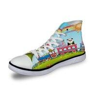 WHEREISART Women Canvas Shoes Train Zoo Cartoon Rainbow High Top Flats Vulcanized Shoes Female Casual Shoes Sneakers