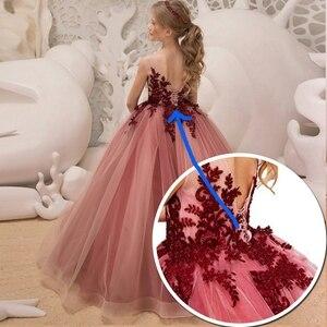 Image 5 - Mädchen Hochzeit Kinder Kleider Für Mädchen Party Kleid Spitze Prinzessin Sommer Teenager Kinder Prinzessin Brautjungfer Kleid 8 10 12 14 jahre