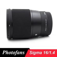 Sigma 16 / 1.4 lente 16mm f1.4 dc dn lente contemporânea para câmeras sony e-mount, preto a6500 a6300 a6000 a5100 a5000