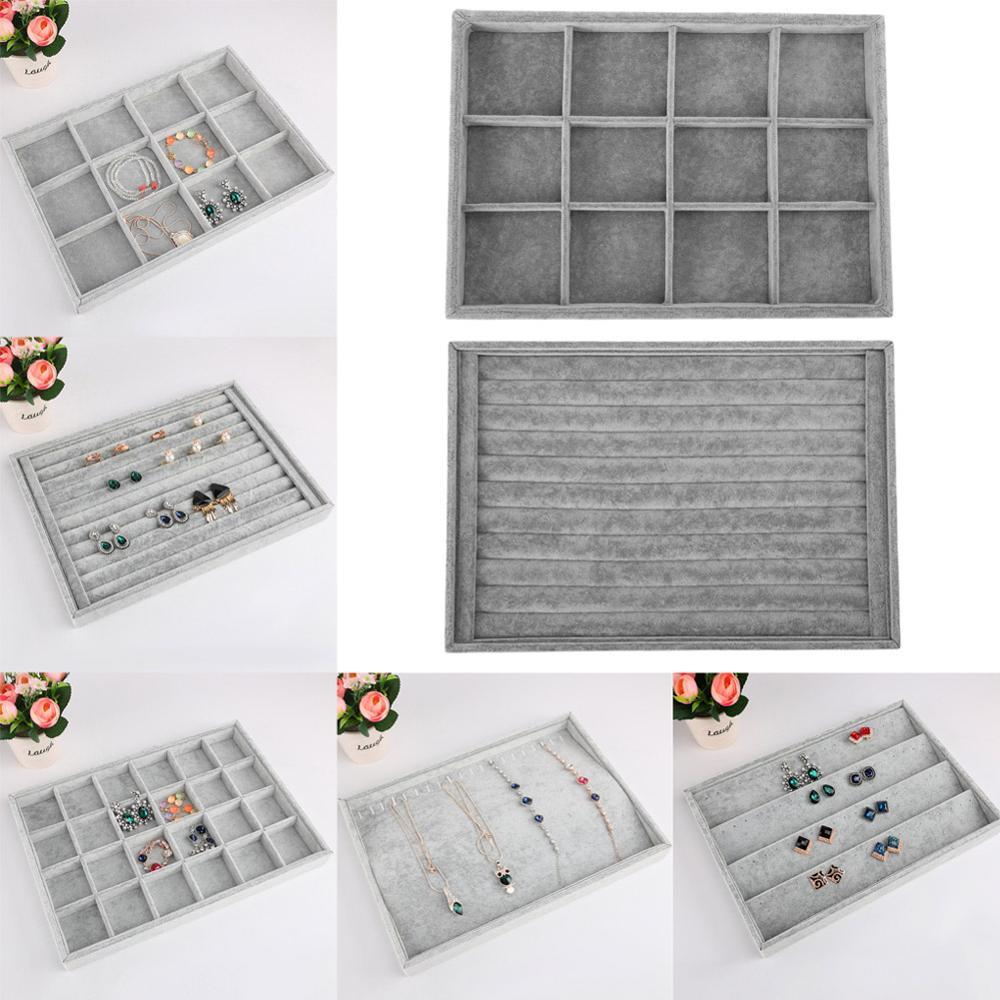 5 stil mücevher kutusu depolama organizatör ekran gri küpe yüzük bilezik kolye broş biblo kutusu tabut düğün dekorasyon