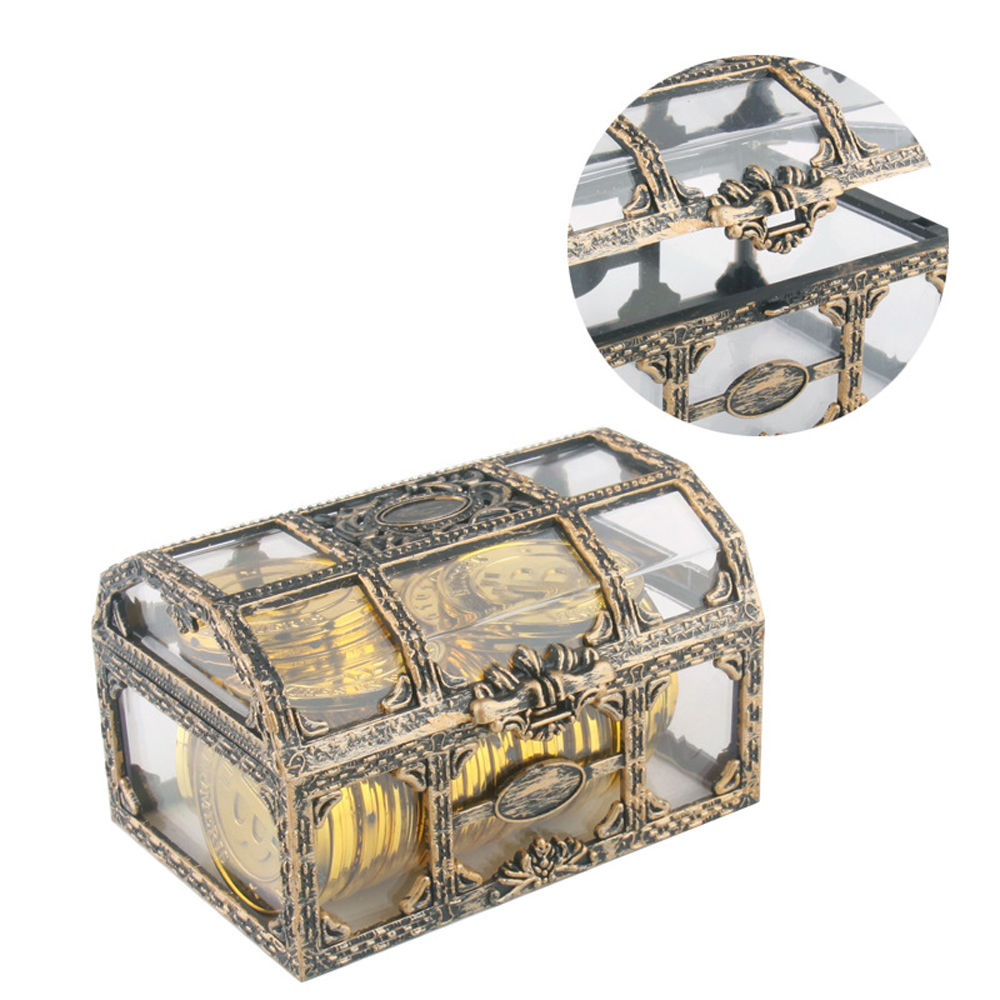 1pcs Newest Pirate Treasure Chest Plastic Container Gold Box Kids Toys For Children Pirate Crystal Gem Treasure Box Toy Figures